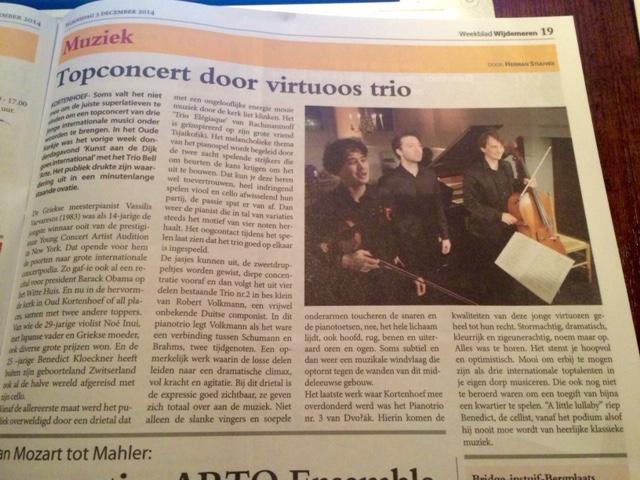 Verslag Trio Bell'Arte dec 2014